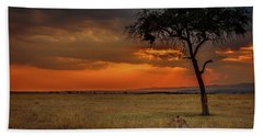 On A  Serengeti Evening  Beach Towel