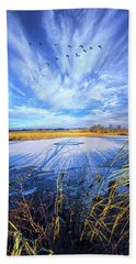 Beach Towel featuring the photograph On Frozen Pond by Phil Koch