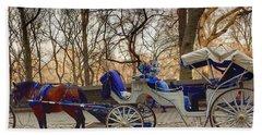 On My Bucket List Central Park Carriage Ride Beach Sheet
