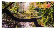 Beach Towel featuring the photograph On Oscar - Claude Monet's Garden Pond  by D Davila