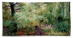 Reflection On, Oscar - Claude Monet's Garden Pond Beach Towel