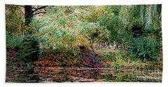 Beach Towel featuring the photograph Reflection On, Oscar - Claude Monet's Garden Pond by D Davila