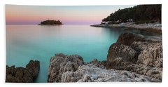 Beach Towel featuring the photograph On The Beach In Dawn by Davor Zerjav