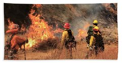Beach Towel featuring the photograph On The Fire Lines by Chris Tarpening