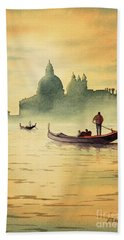 On The Grand Canal Venice Italy Beach Towel by Bill Holkham