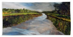 Beach Sheet featuring the painting On The Mashpee River by Michael Helfen