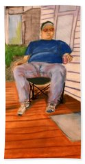 On The Porch With Uncle Pervy Beach Sheet by Jean Haynes