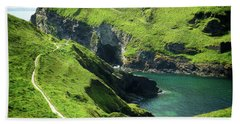 Beach Towel featuring the photograph On The Road To Tintagel by Connie Handscomb