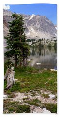 On The Snowy Mountain Loop Beach Towel by Marty Koch