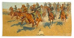 On The Southern Plains Frederic Remington Beach Towel by John Stephens