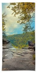 On Top Of Kaaterskill Falls Beach Sheet by John Rivera