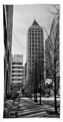 One Atlantic Center In Black And White Beach Towel