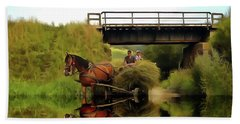 One Brown Horse Transportation Hay On Wooden Cart Beach Towel