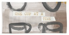 One Cup At A Time- Art By Linda Woods Beach Towel