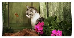 One Cute Kitten Waiting At The Door Beach Sheet