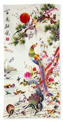 One Hundred Birds With A Phoenix, Canton, Republic Period Beach Towel