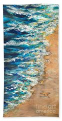 Beach Towel featuring the painting One Star by Linda Olsen