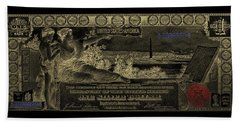 Beach Towel featuring the digital art One U.s. Dollar Bill - 1896 Educational Series In Gold On Black  by Serge Averbukh