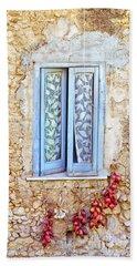 Onions And Garlic On Window Beach Towel by Silvia Ganora