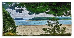 Beach Towel featuring the painting Onset, Ma by Joan Reese