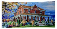 Beach Towel featuring the painting Ontario House Portrait  by Hanne Lore Koehler