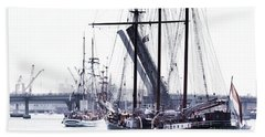 Beach Towel featuring the photograph Oosterschelde Leaving Port by Stephen Mitchell