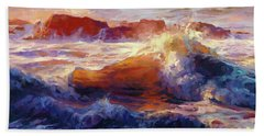Beach Towel featuring the painting Opalescent Sea by Steve Henderson
