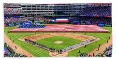 Opening Day At Globe Life Park Beach Towel