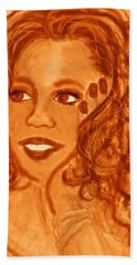 Beach Towel featuring the mixed media Oprah by Desline Vitto