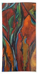Orange Abstract Beach Towel