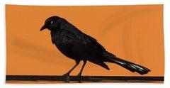 Orange And Black Bird Beach Sheet