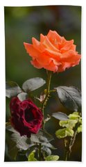 Orange And Black Rose Beach Towel