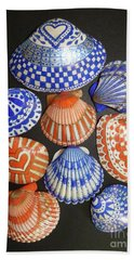 Orange And Blue Sharpie Shells Beach Towel