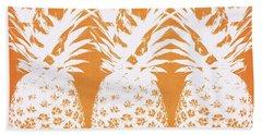 Orange And White Pineapples- Art By Linda Woods Beach Towel