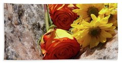 Orange And Yellow On Pink Granite Beach Towel