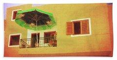 Beach Towel featuring the photograph Orange Apartment, Alcala by Anne Kotan