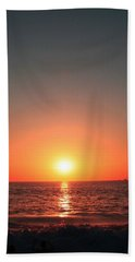 Orange Arched Sunset On Waves Beach Sheet