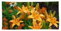 Beach Sheet featuring the photograph Orange Asiatic Lilies And Butterfly Weed by Kathryn Meyer