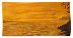 Beach Towel featuring the painting Orange Beach by Ian  MacDonald