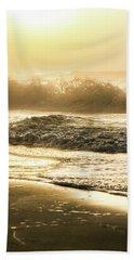 Beach Sheet featuring the photograph Orange Beach Sunrise With Wave by John McGraw