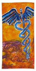 Orange Blue Purple Medical Caduceus Thats Atmospheric And Rising With Mystery Beach Sheet
