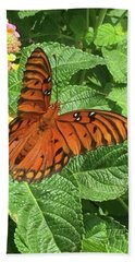Orange Butterfly   Beach Towel