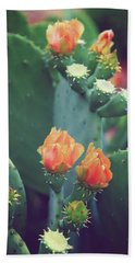 Orange Cactus Bloom Beach Towel