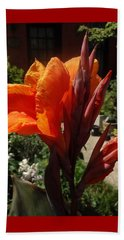 Orange Canna Lily Beach Towel