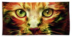 Orange Cat Art - Feed Me Beach Towel by Peggy Collins