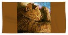 Orange Cat Sleepy Time Beach Sheet