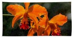 Orange Cattleya Orchid Beach Towel by Kai Saarto