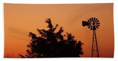 Orange Dawn With Windmill Beach Towel