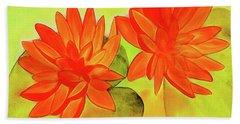 Orange Waterlily Watercolor Painting Beach Towel