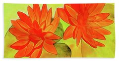 Orange Waterlily Watercolor Painting Beach Sheet
